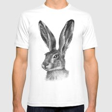 Cute Hare portrait G126 SMALL Mens Fitted Tee White