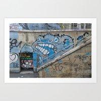 Grey Bear Graffiti Art Print