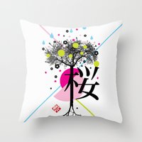 sakura ki Throw Pillow