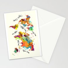 world map art text Stationery Cards