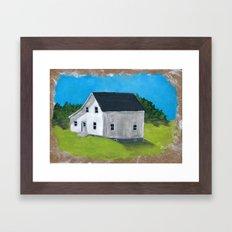 White Farmhouse. Framed Art Print