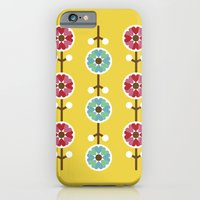 iPhone & iPod Case featuring Scandinavian inspired flower pattern - yellow background by Hello Olive Designs