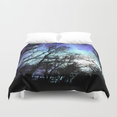 black trees periwinkle space Duvet Cover