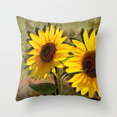 SUNFLOWERS, Double Sunshine Throw Pillow