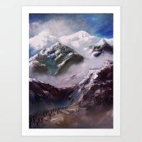 Alpen und Flüchtlinge Art Print
