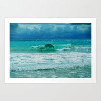 Art Print featuring TURQUOISE WAVE by Catspaws