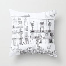 Algún lloc aprop del carrer Comtal Throw Pillow