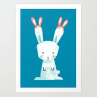 Art Print featuring Four Eared Bunny by Budi Kwan