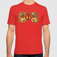 Monarch Butterfly with Strawberries Illustration Mens Fitted Tee Red SMALL