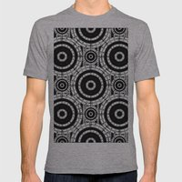 Geometric black and white Mens Fitted Tee Athletic Grey SMALL