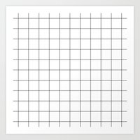 Black And White Grid Wat… Art Print