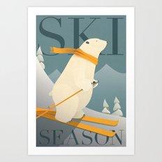 Ski Season - Polar Bear Art Print