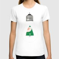 Santa In The Bulb Womens Fitted Tee White SMALL