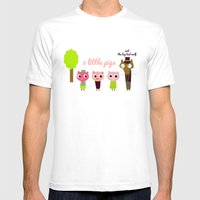 3 Little Pigs Mens Fitted Tee White SMALL