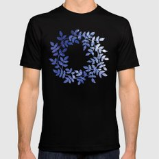 Delicate watercolor pattern with leaves Mens Fitted Tee Black SMALL