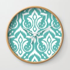 Ikat Damask Aqua Wall Clock