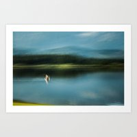 Blurry impressions of a lake Art Print