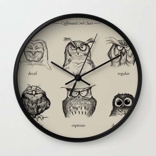 Caffeinated Owls Wall Clock