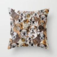 Social English Bulldog Throw Pillow