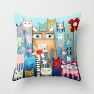 Throw Pillow featuring Bunch Of Cats by Ruth Fitta Schulz