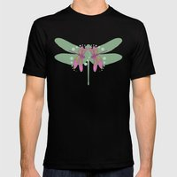 Pattern With Dragonflies… Mens Fitted Tee Black SMALL