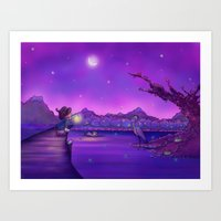 The Unexpected Visitor purple sky Art Print