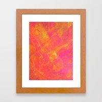 Pink And Orange Stripes Framed Art Print