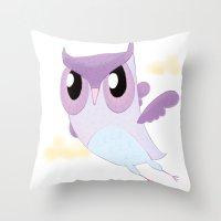 Purple Owl Throw Pillow