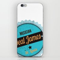 Deal James, Round Sticker Blue iPhone & iPod Skin