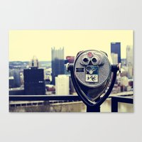 Sightseeing Telescope Over Pittsburgh Canvas Print