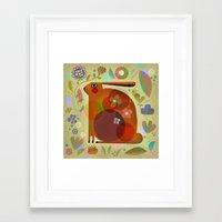 ORANGE BUNNY Framed Art Print
