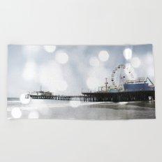 Sparkling grey Santa Monica Pier Beach Towel