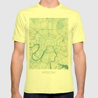 Moscow Map Blue Vintage Mens Fitted Tee Lemon SMALL