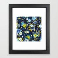 Flower Garden in Navy Neon Framed Art Print