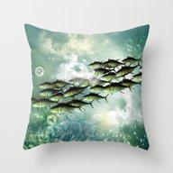 Fish Shoal Throw Pillow