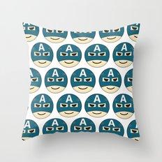 Captian A Emoji Throw Pillow