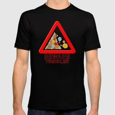 Warning tribbles Mens Fitted Tee Black SMALL