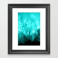 Teal - Fluid Abstract Ar… Framed Art Print