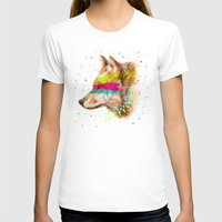 Cherokee Wolf II Womens Fitted Tee White SMALL