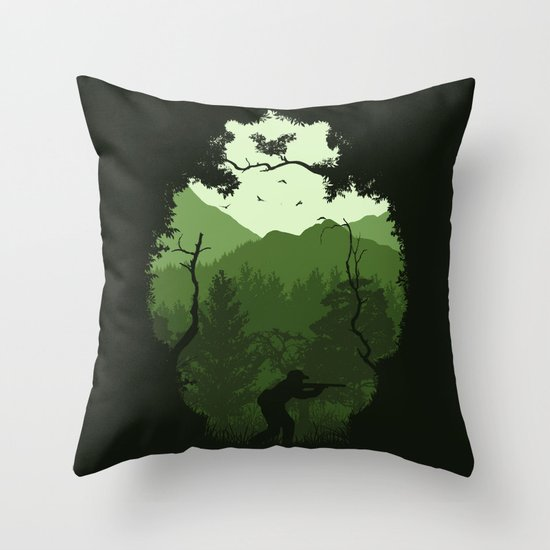 Hunting Season - Green Throw Pillow