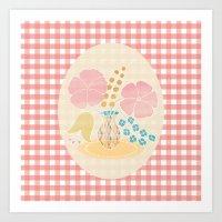Hexagon Floral 4 Art Print