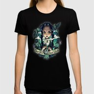 OVER YOUR DEAD BODY Womens Fitted Tee Black SMALL
