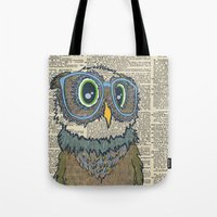 Owl Wearing Glasses Tote Bag