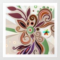 Floral curves Art Print