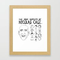 The Many Haircuts Of Nicolas Cage. Framed Art Print
