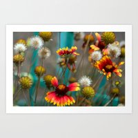 Fiery Flowers Art Print