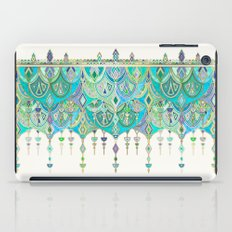 Art Deco Double Drop in Jade and Aquamarine on Cream iPad Case