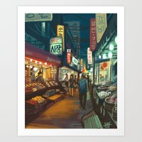 Night Market Art Print