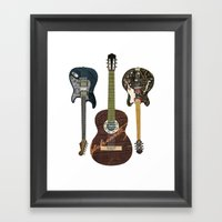 Guitar Collage Framed Art Print