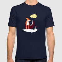 party animals - english fox Mens Fitted Tee Navy SMALL